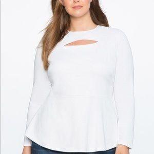 Eloquii Cutout Peplum Long Sleeved  White Top